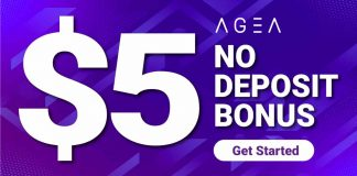$5 No Deposit Welcome Bonus Promotion from AGEA